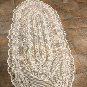Vintage Crochet oval designed center tablecloth